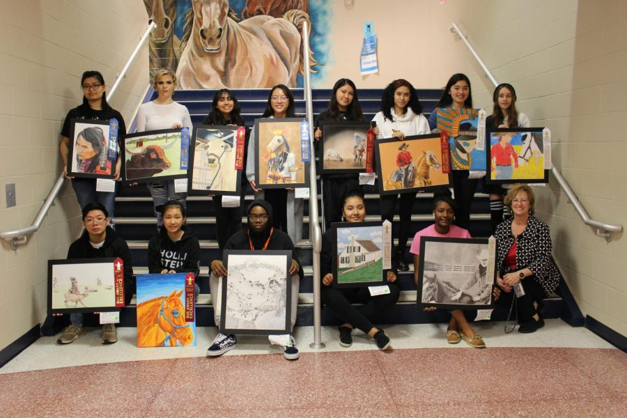 Art+show+winners+pose+with+their+teacher%2C+Mrs.+Bolt.